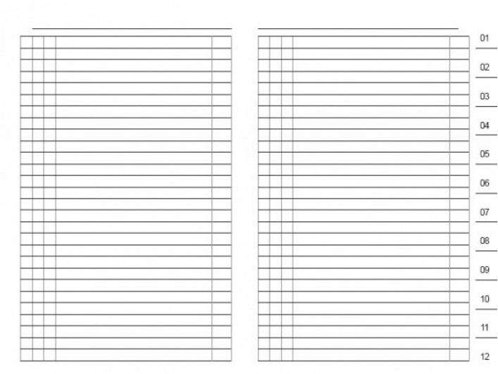 Einlage Datenregister 1-12 A5, A6, A7