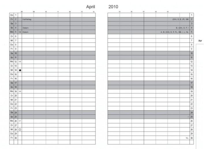 Einlage Monatskalender 2019 A5, A6,